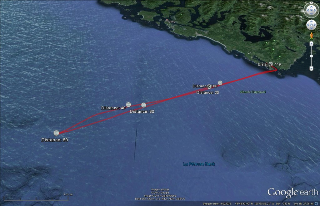 Pelagic Route from Ucluelet - September 15, 2013