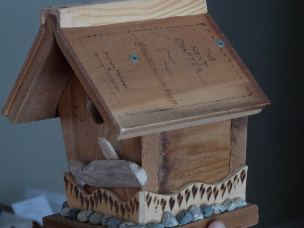 Hand-crafted and inscribed nestbox by Shaun on Gabriola Island.